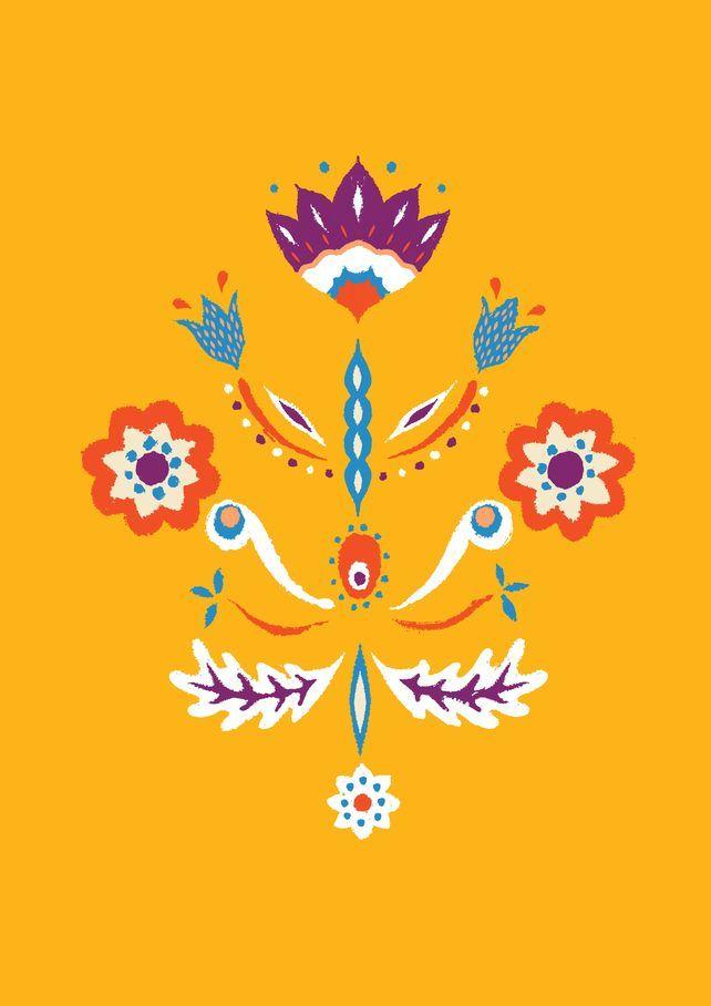 New Contemporary Yellow Swedish Kurbit Flower Design Folk Art Flowers Polish Folk Art Scandinavian Art