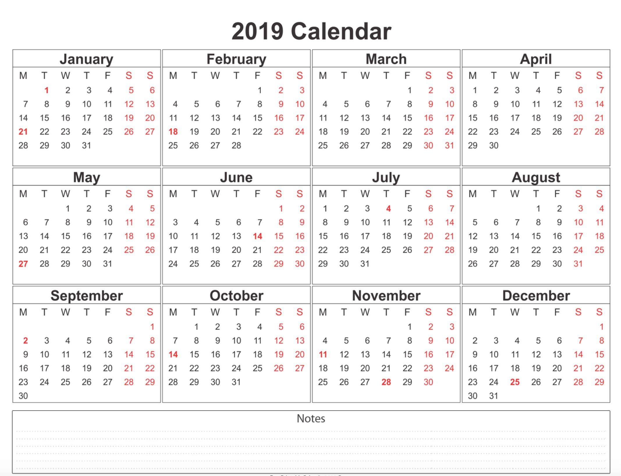 Free Printable 2019 Calendars 2019 Weekly Calendar Printable | 2019 Calendars | 12 month