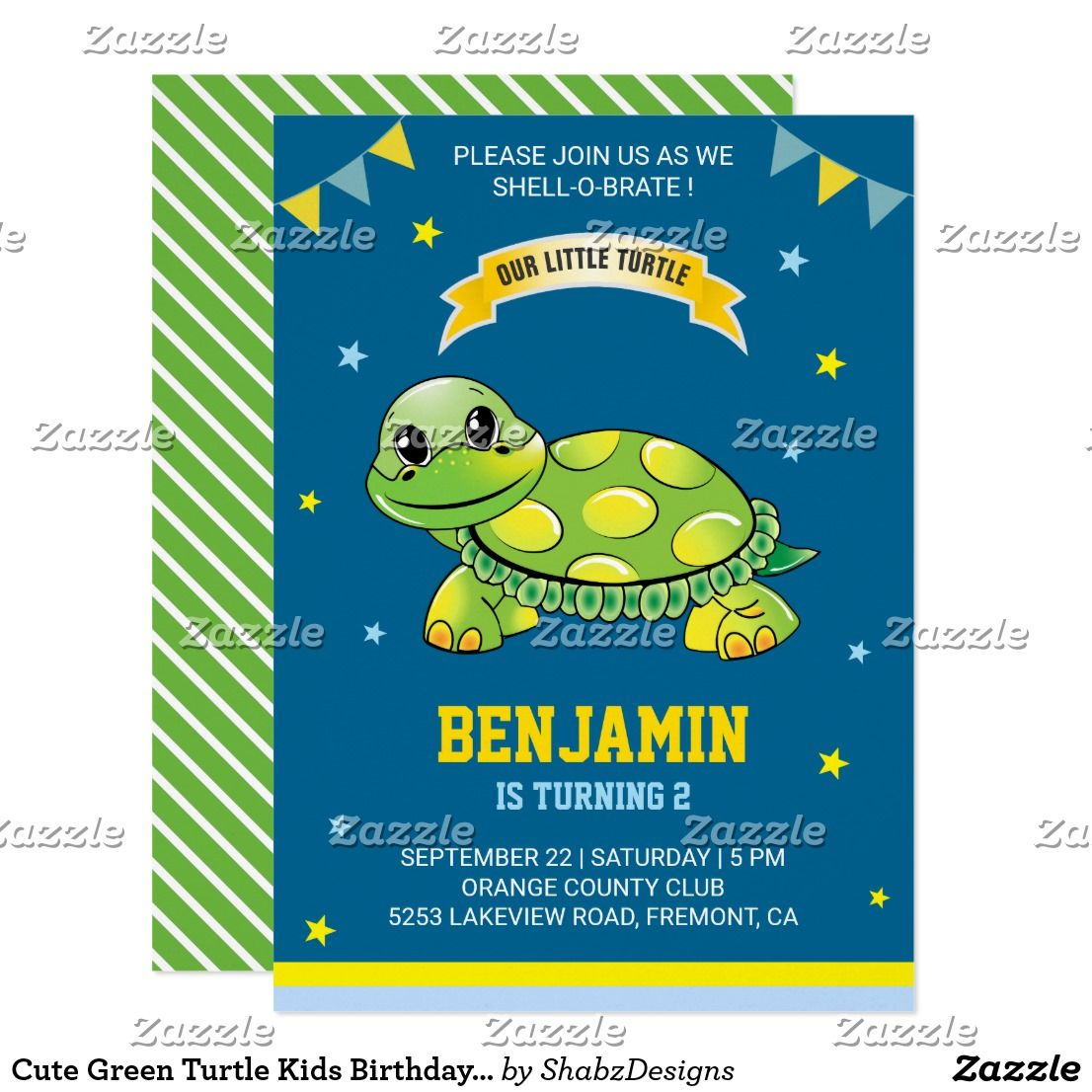cute green turtle kids birthday party invitation invite your guests with this cute birthday party invitation