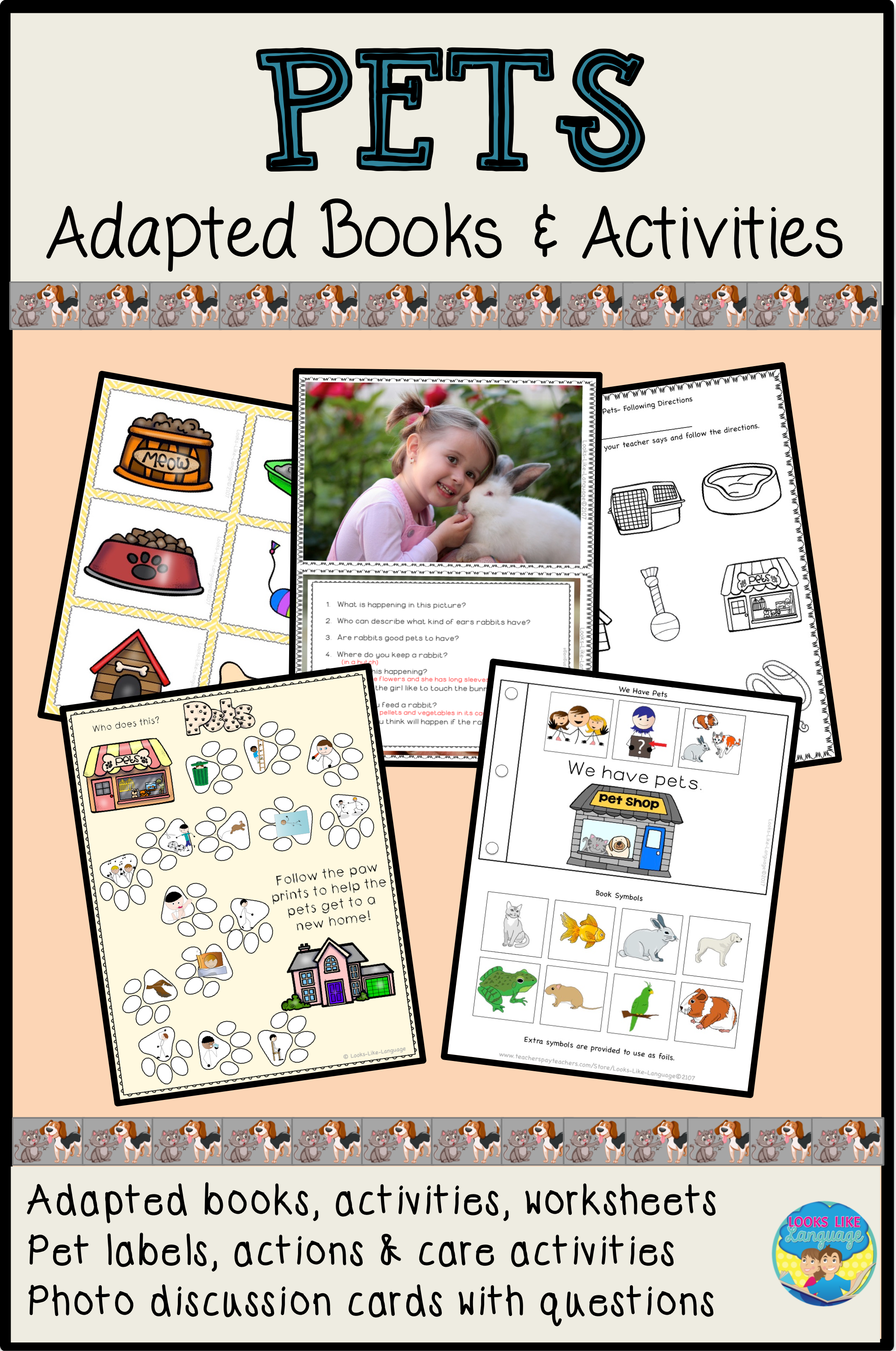 Pets Preschool Photo Activities Bundle