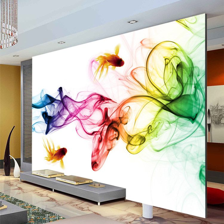 Tv Background On Sale At Reasonable Prices, Buy Modern Smoke Fog Wallpaper  Photo Wallpaper Goldfish Wall Mural Childrens Room Bedroom Art Room Decor  Sofa TV ... Part 56