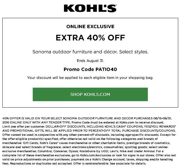 picture relating to Diva Cup Printable Coupon called Sonoma #Kohls Far more 40% Off Pick Sonoma Outside Home furnishings