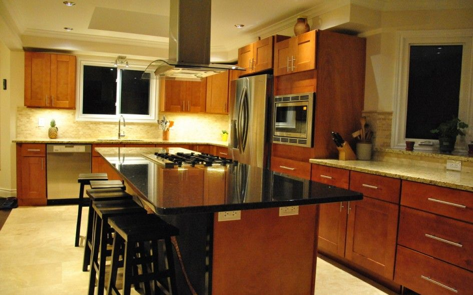 Incredible Kitchen Islands with Black Granite Top and Ceiling ...