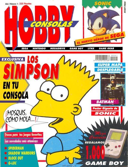 Portada número 1 de hobby consolas publicada en el mes de octubre 1991. En ella se anuncia la llegada de la familia Simpson a las videoconsolas, siendo todo un éxito en la época, ya que estaba inspirado en la serie animada más famosa de la época (y que hoy en día sigue siendo así) :los Simpson. Aparece uno de los protagonista de la familia, Bart Simpson, el mayor de los hermanos y el travieso. También se anuncia en nacimiento de la mascota de Sega: Sonic.