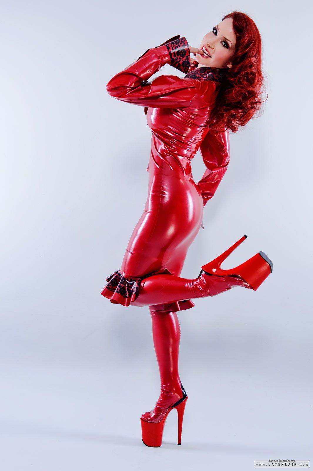 bianca latex fetish - Latex Fetish Love - Shiny frills girl in a red latex