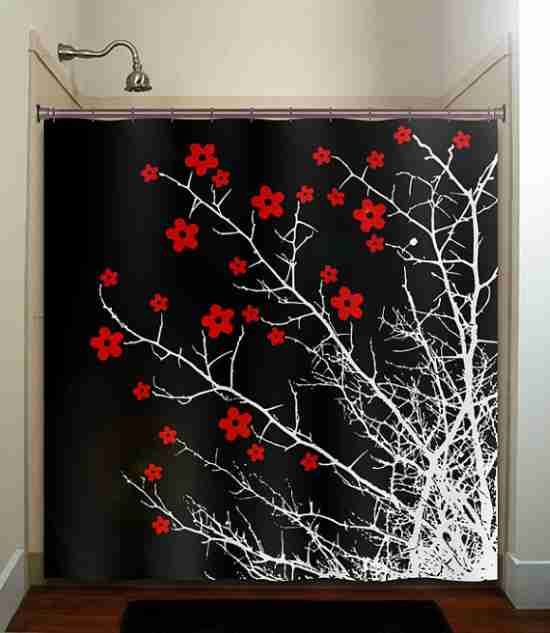 Red Black And White Shower Curtains Red Shower Curtains Tree