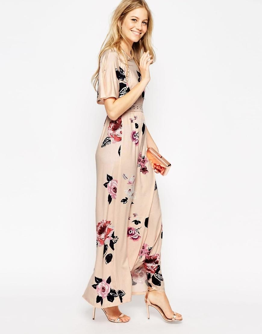 Asos asos angel sleeve maxi dress with lace inserts in