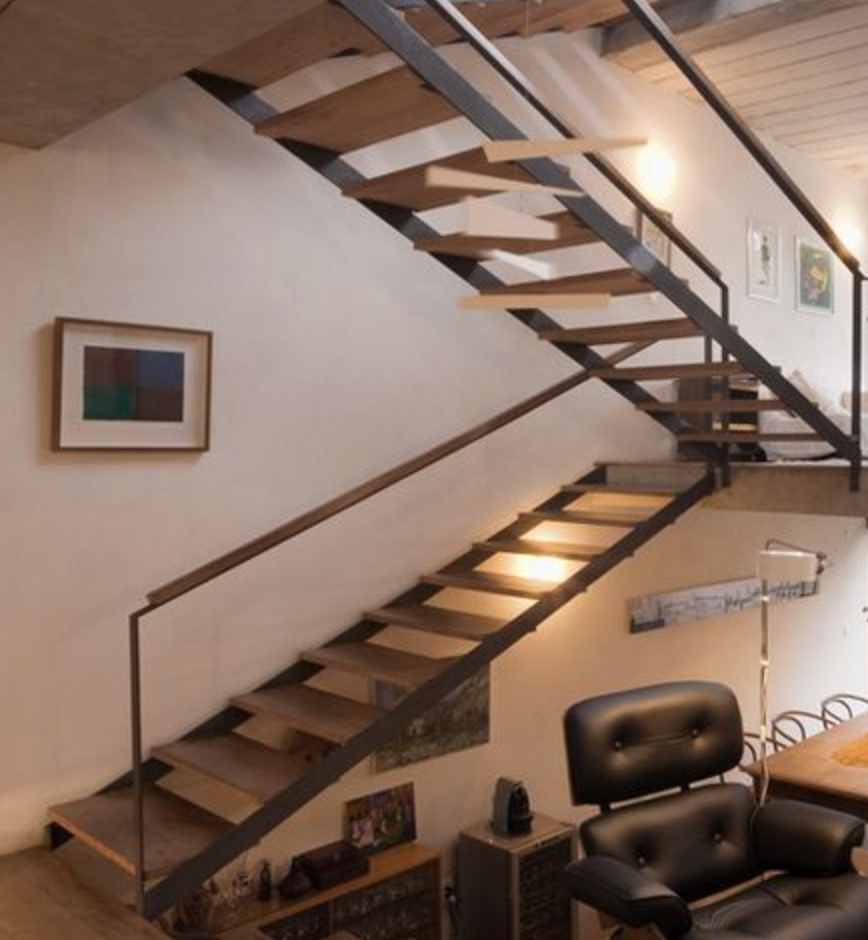 Stahl Anthrazit Freie Holz Treppe