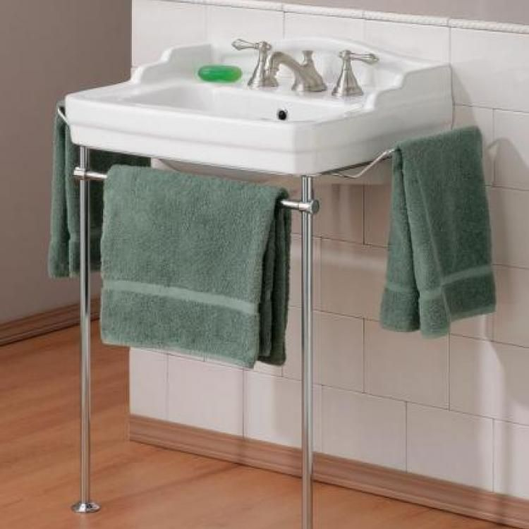 Bathroom Sink 24 X 18 hall bath: cheviot essex bathroom sink wth metal console, item