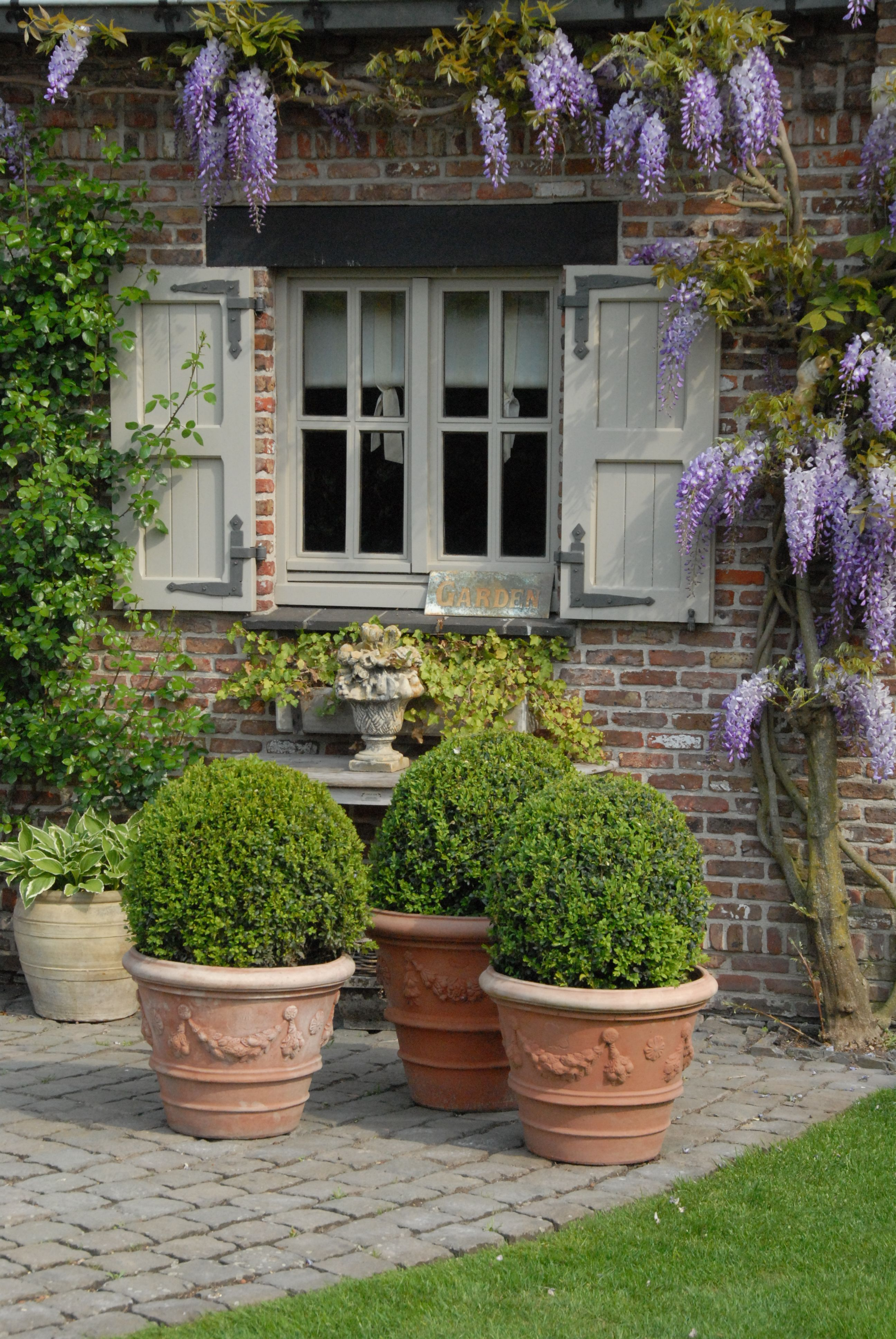 Love the wisteria and boxwoods.