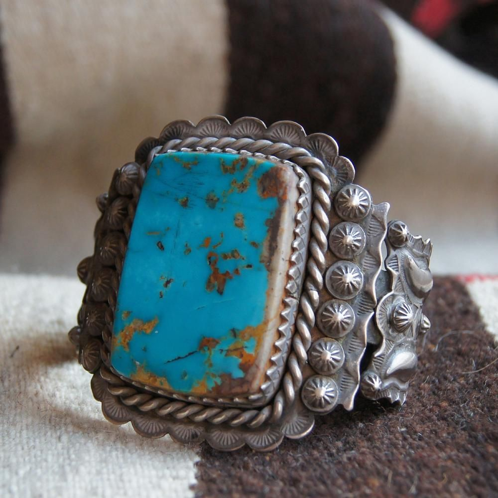 Turquoise Classic Men's Natural Fox Vein Turquoise Heavy Cuff Bracelet