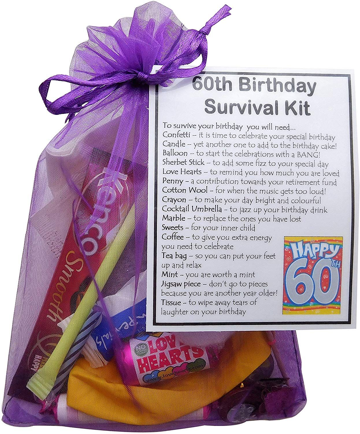60th Birthday Gift Unique Novelty Survival Kit 60th Birthday For