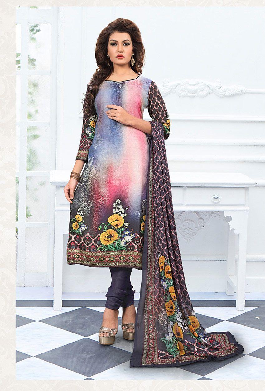 fb4e0153ca Georgette #Slate #Gray #Printed #Straight Cut #Suit #nikvik #usa #designer  #australia #canada #freeshipping #suits #pakistani