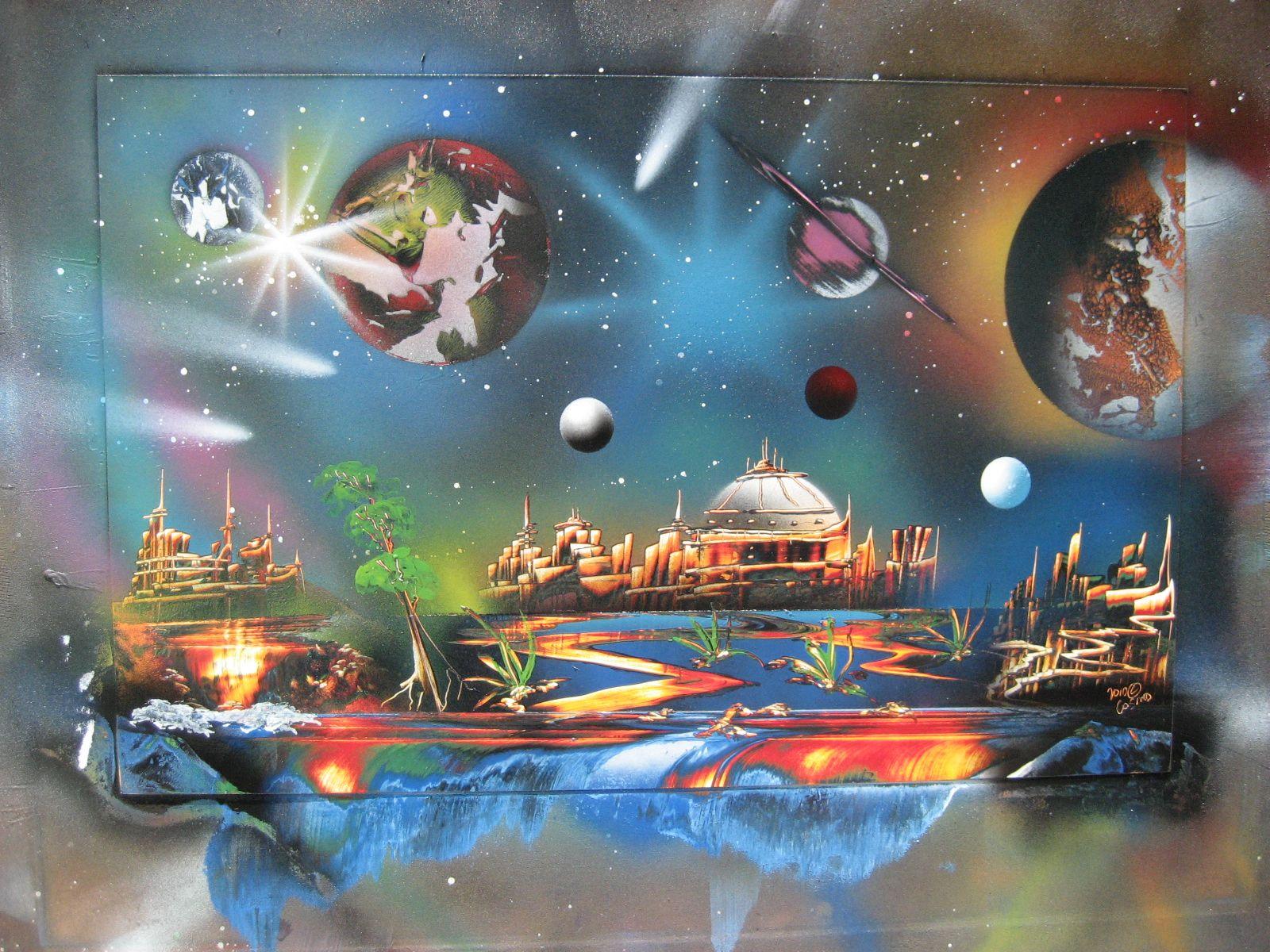 Spray paint art- Space   Pintar
