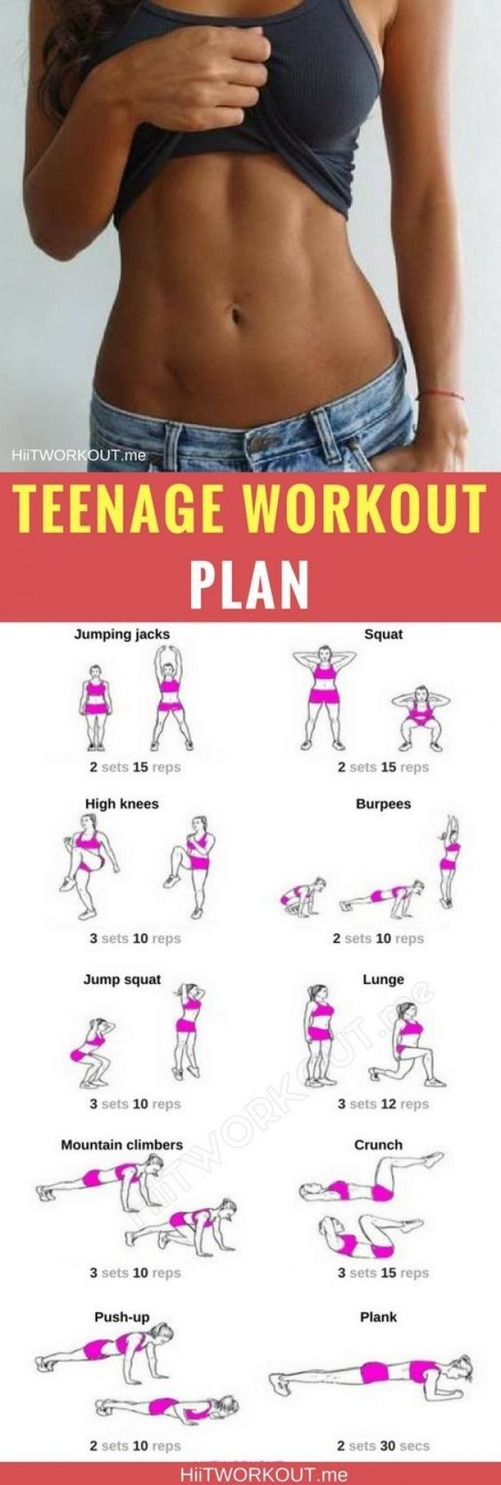 1 Month Home Workout for Teens With No Equipment #fitnessexercises