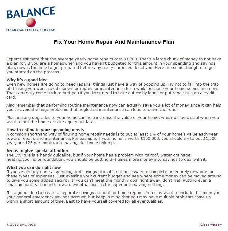 Fix Your Home Repair and Maintenance Plan BALANCE Financial Fitness - home maintenance spreadsheet