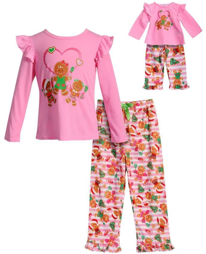 Dollie   Me Girls 4-14 Gingerbread Cookie Ruffled Top   Bottoms Pajama Set 57caec453