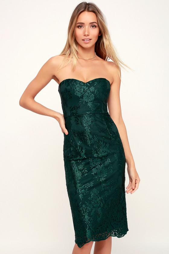 What a Knockout Forest Green Embroidered Strapless Dress – Lulus[Picked from Lulus.com] What
