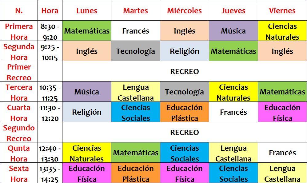 horario de clases de secundaria - Google Search