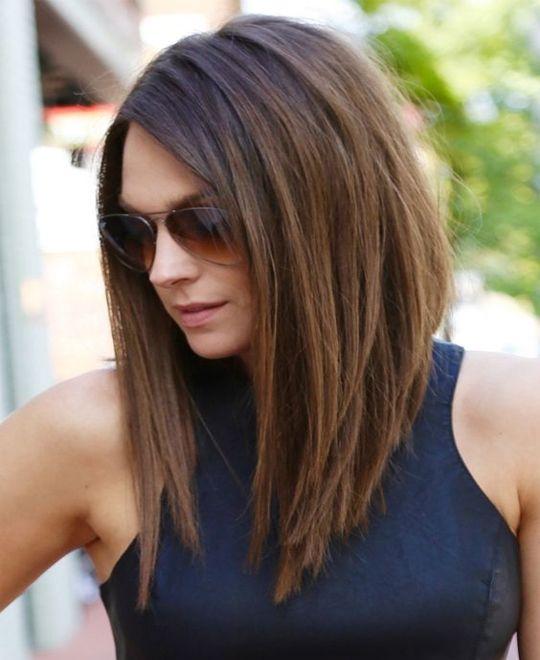 A line bob is a fabulous hairstyle for medium hair