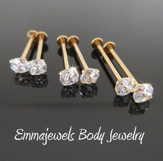 2-16g 14-19mm CHEEK PIERCING STUD Gold Tone Dimple Maker 3 or 5mm CZ Prong Set #Unbranded