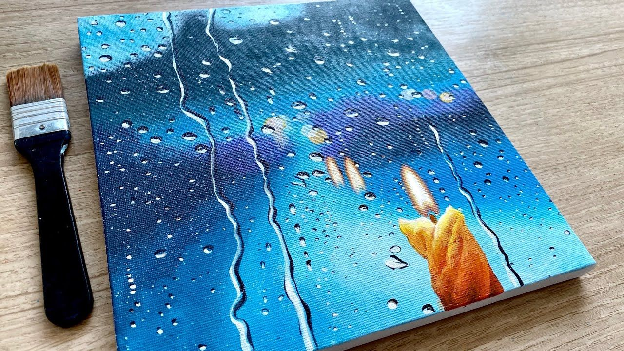 Rainy Day Acrylic Painting for Beginners / Step by Step / Daily Challenge #103