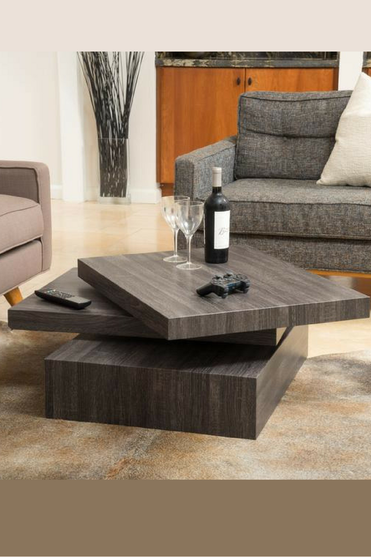 Stylish In Its Modern Contemporary Design The Haring Rotating Wood Coffee Table Offers A Clear Lat Coffee Table Coffee Table Design Modern Unique Coffee Table