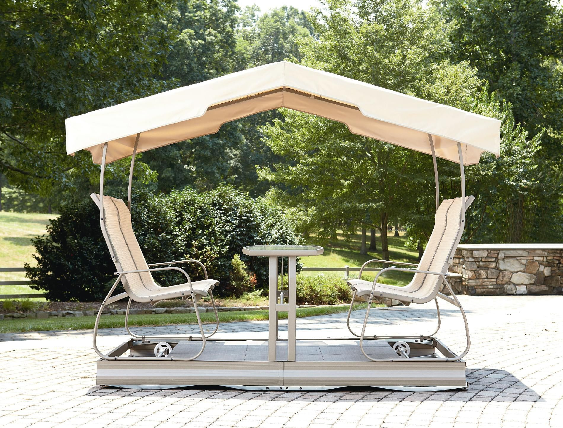 patio outdoor patio glider swing with canopy beige polyester canopy cover 4 person beige chair small center table face to face design sturdy steel frame