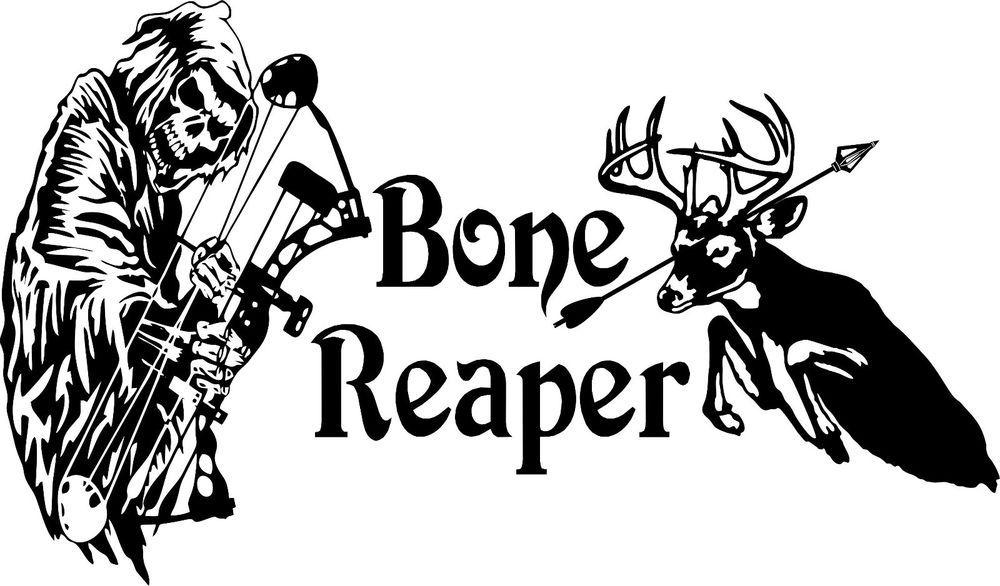 Grim Reaper Bow Arrow Hunting Bone Skeleton Truck Window Vinyl - Custom vinyl decals for trucks
