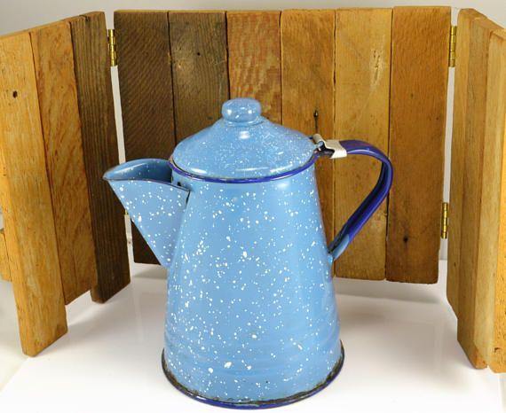 Blue White Speckled Enamelware Coffee Pot  Cobalt Blue Trim