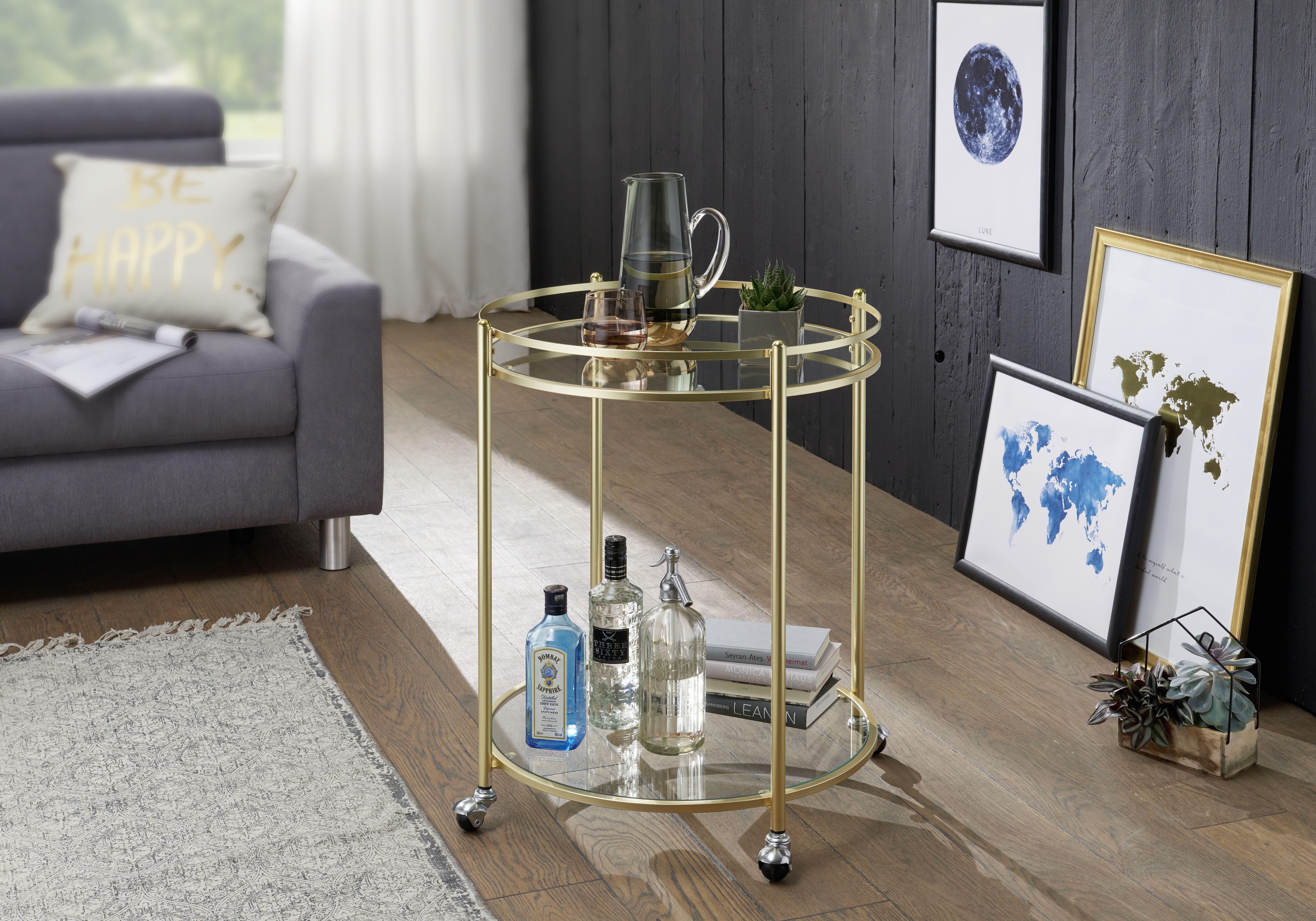 Wohnling Servierwagen James Wl5 792 Aus Glas Mit Gold Gestell Wohnzimmer Gold Glas Modern Design Servierwagen Beistelltische Wohnzimmer Beistelltische