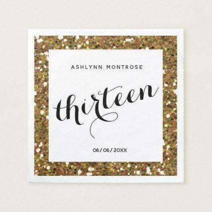 Beautiful Gold Glitter 13th Birthday Napkin   Zazzle.com #papernapkins