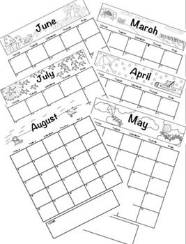 School Days Calendar (Color & Coloring Book Styles