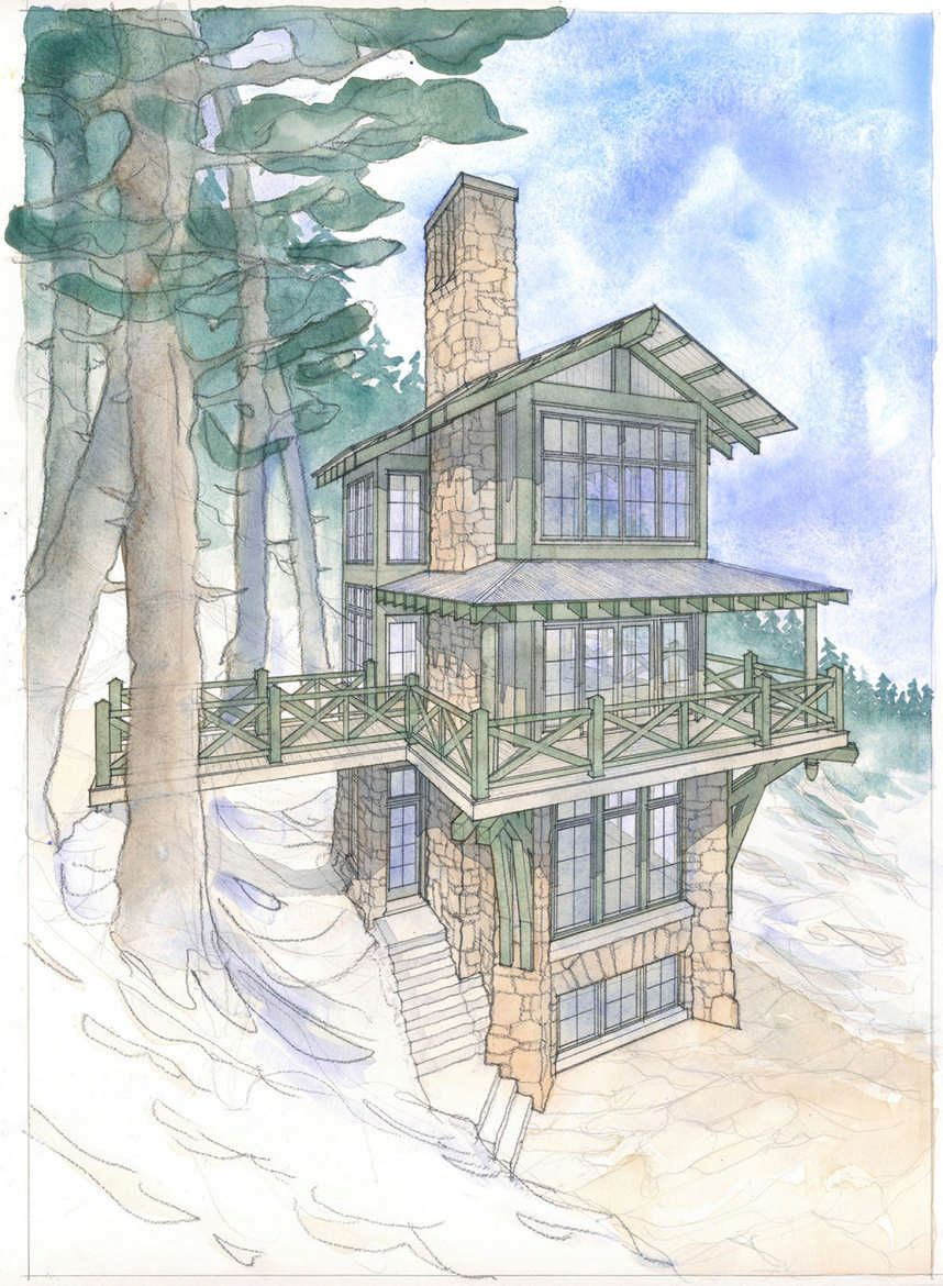 This Mountain Cabin Gets Its Many Rooms And All Of Its Charm By Going Up Not Out Having A Tiny Footprint Of Only 3 Cabin House Plans Cabin Living House Plans