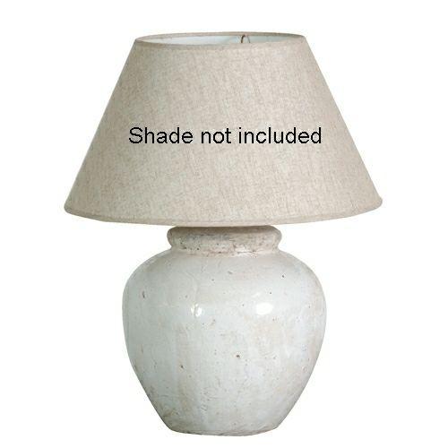 WHITE GLAZE CERAMIC LAMP BASE H