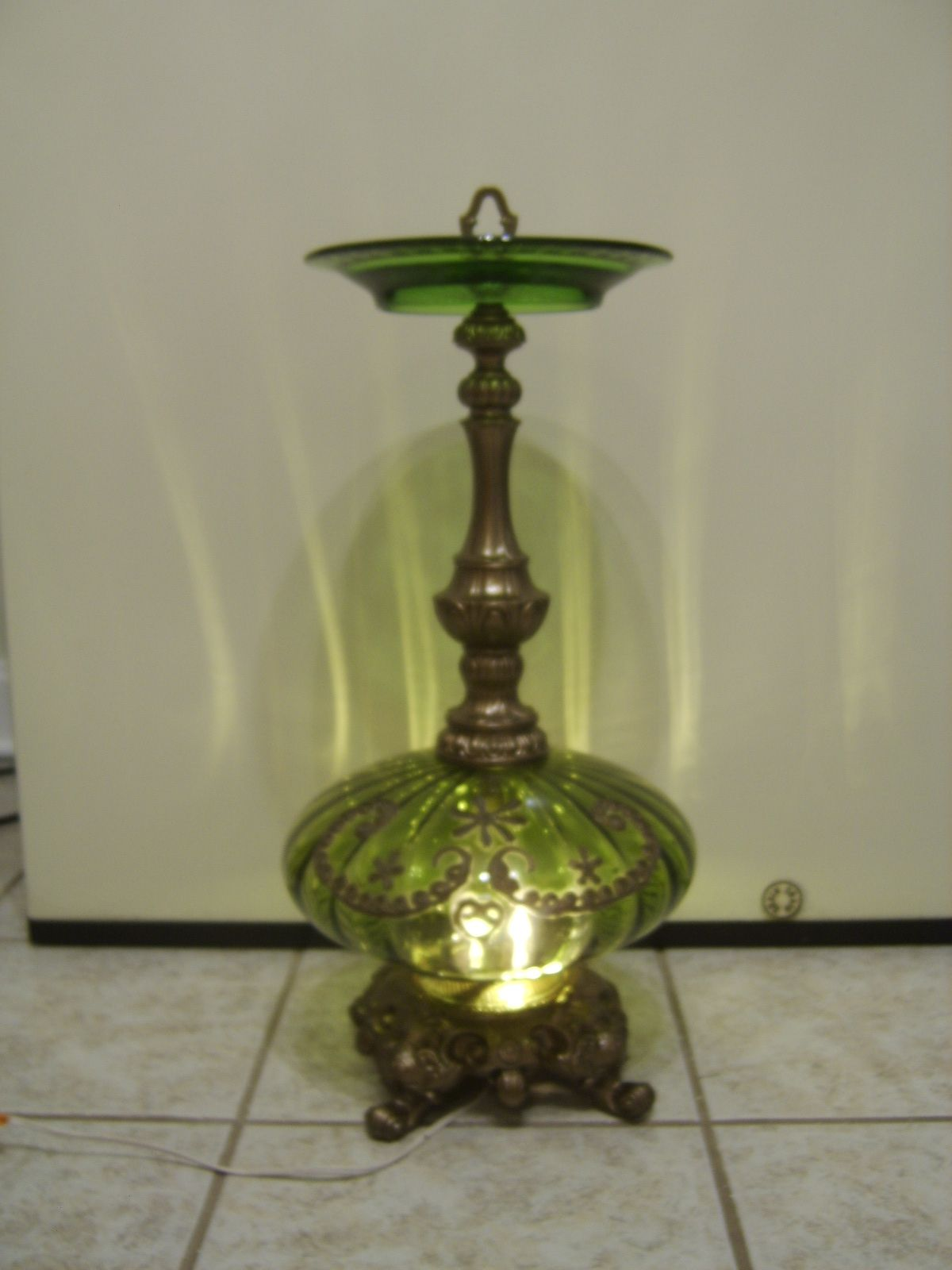 Green Glass And Brass Lighted Ashtray Stand Brass