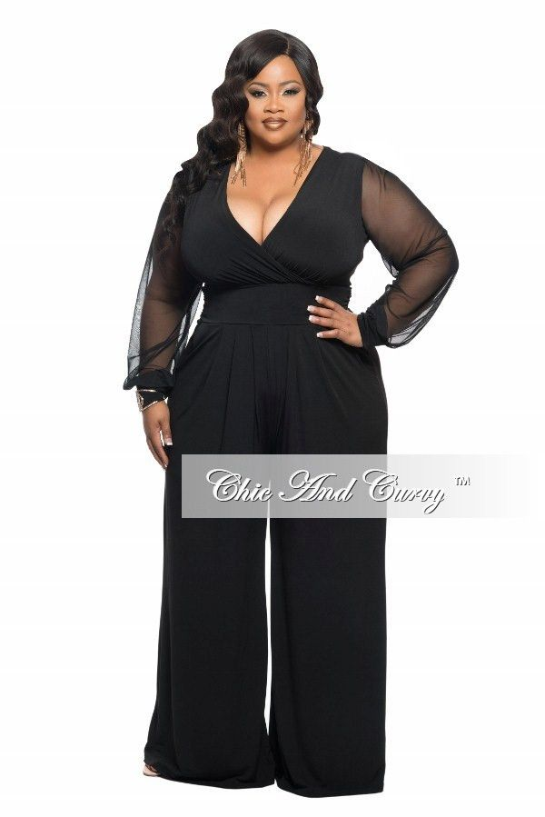 c135c36a5a2 New Plus Size Jumpsuit with Sheer Long Sleeves and Wide Leg in Black ...