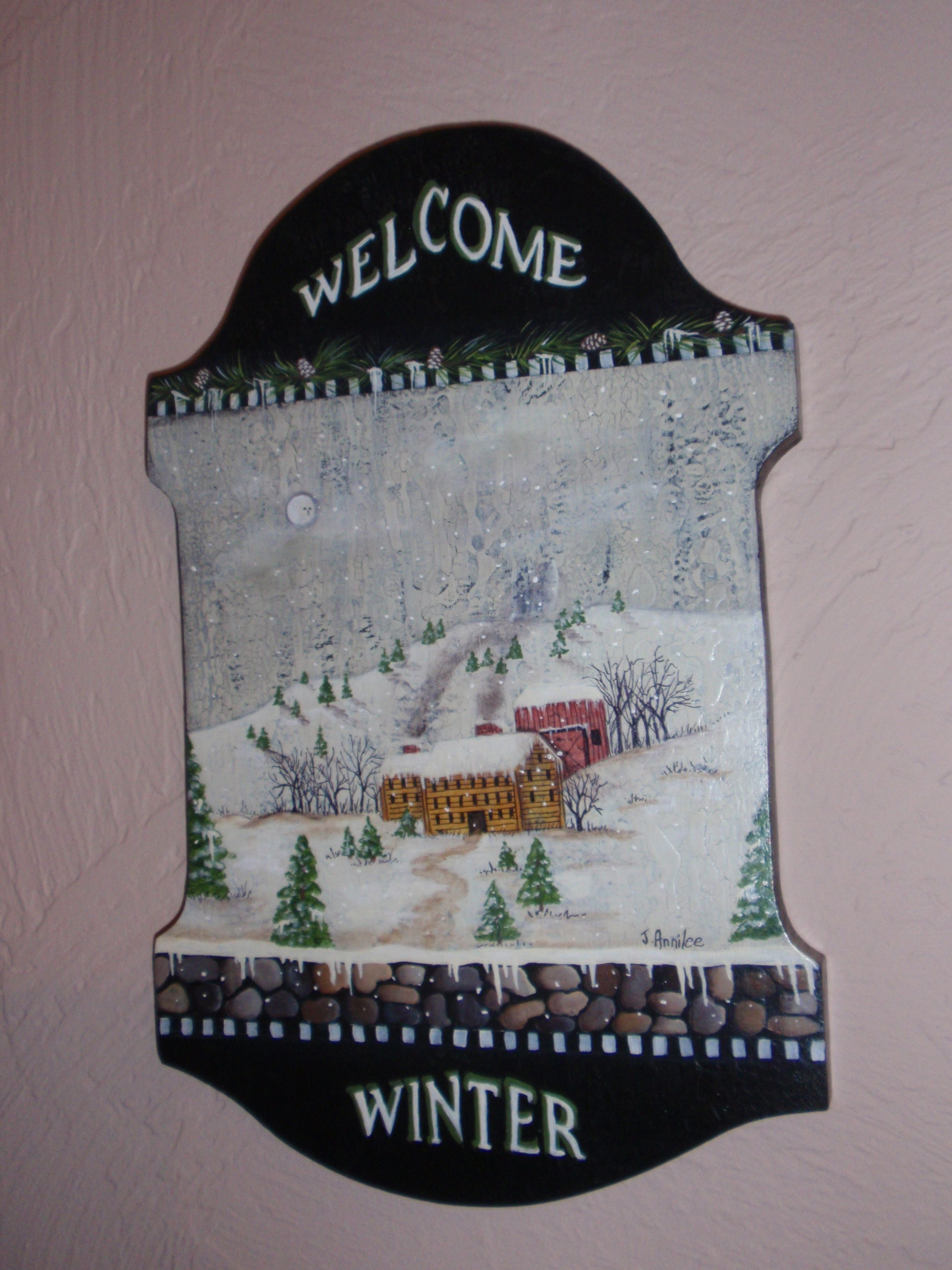 Welcome Winter Plaque Based Upon A Design By Lynne Andrews