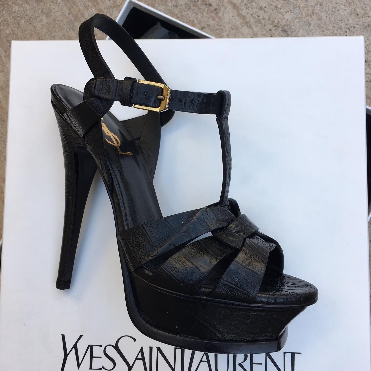 362a94223 Saint Laurent YSL Black Platform Sandals Heels Size 5.5 euro 35.5 NEW IN BOX