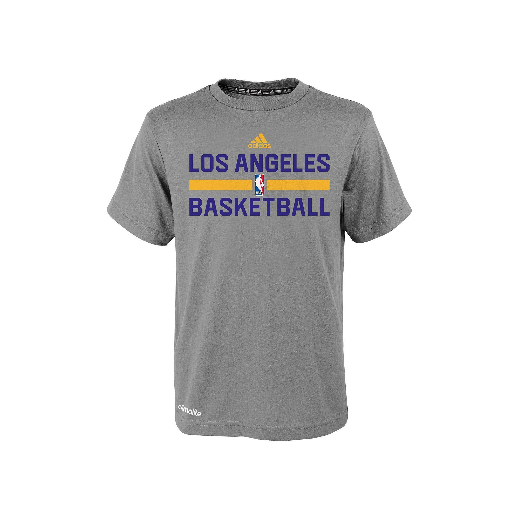 2f41b1074 ... Boys 4-7 Adidas Los Angeles Lakers Heathered Practice climalite Tee