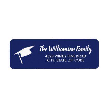 Graduation Cap Custom Color Return Address Label - college