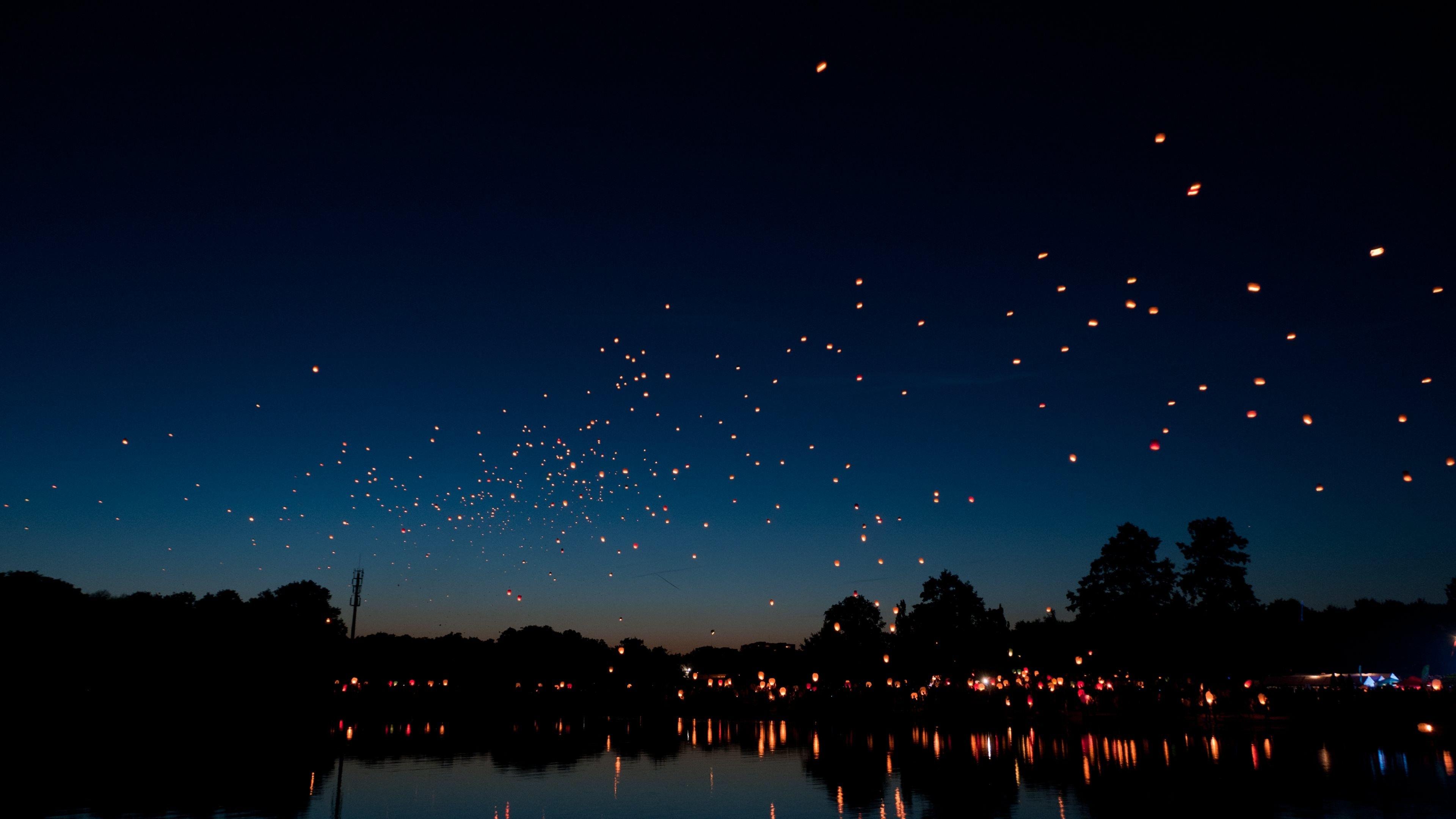 Hd wallpaper ultra - Flying Hot Air Lanterns Ultra Wallpaper Jpg 3840