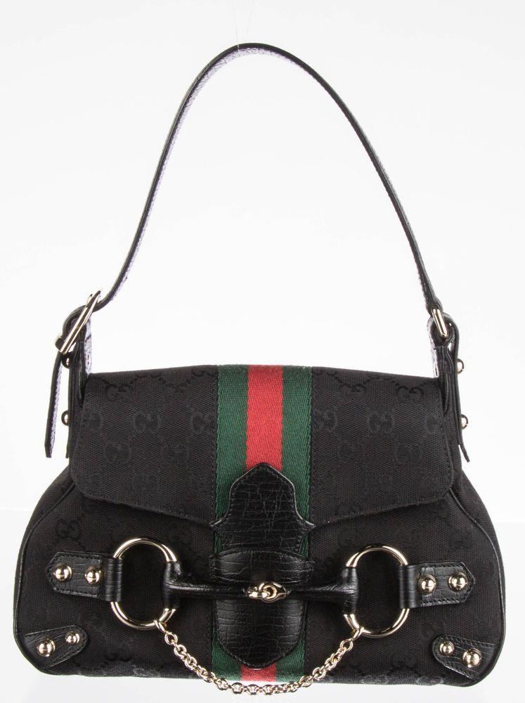 67ff1eb1937 GUCCI Black GG Canvas Web Horsebit Shoulder Bag  fashion  clothing  shoes   accessories
