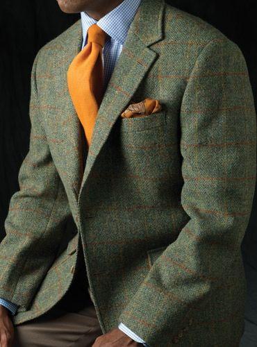 Harris Tweed Windowpane Jacket in Green & Orange | My Style ...