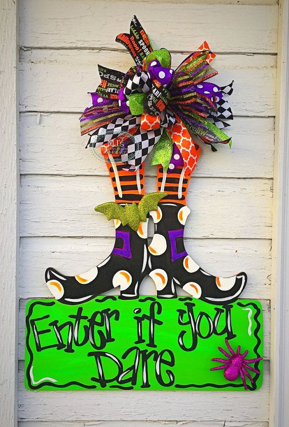 Halloween Door Hanger- Witch Leg Door Hanger, Enter if you Dare Door - pinterest halloween door decor