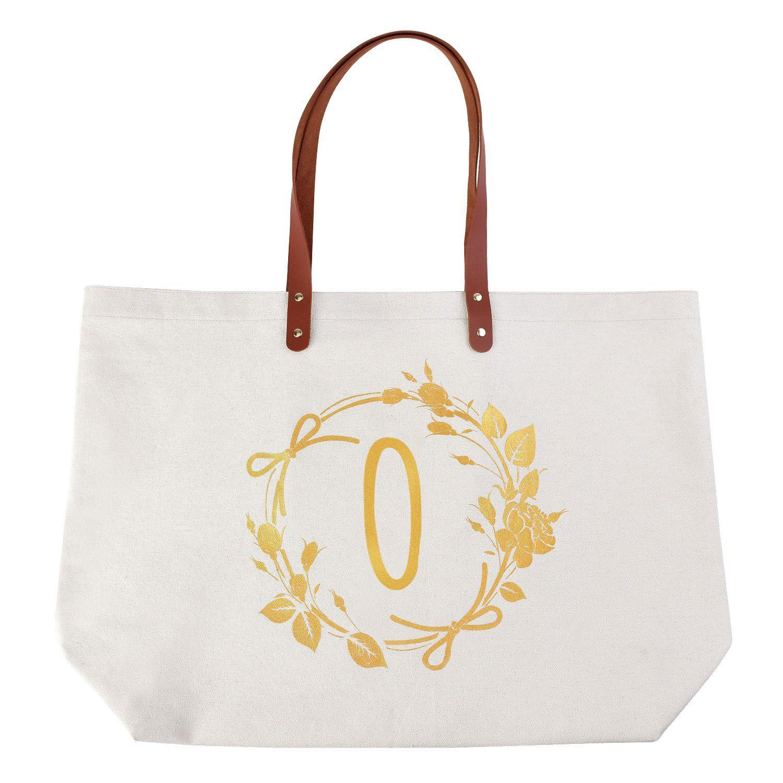 ElegantPark Monogram O Personalized Jumbo Tote Bag with