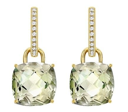 Kiki Clic Green Amethyst And Diamond Cushion Drop Earrings First Noted Valentine S Day 2017