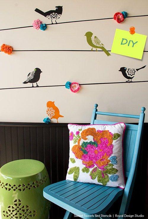 2ff98740d88 Plantillas para pintar paredes alegres con pájaros 1