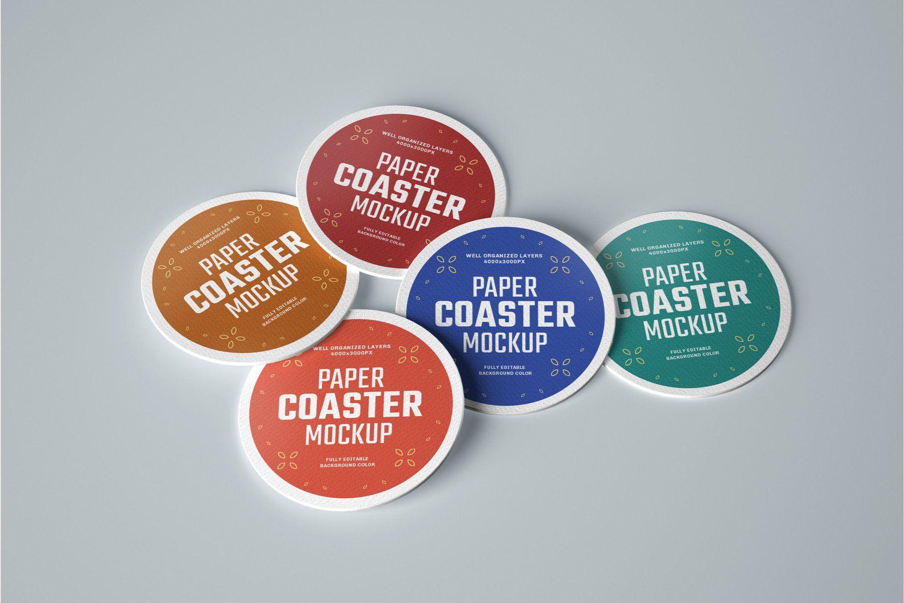 33 Paper Beverage Coaster Mockup Set Graphics Design Ideas Drink Coasters Branding Design