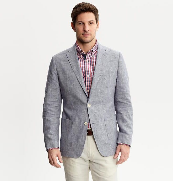Banana Republic Tailored Fit Linen Microcheck Blazer | Men's Style ...